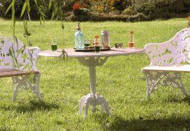 Table de Jardin Fonte d'Aluminium et Bois Fougère