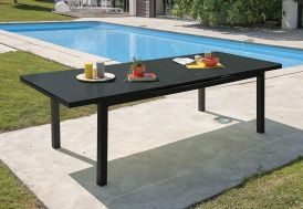 table de jardin en aluminium avec plateau en verre et rallonge