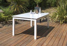 Table de Jardin avec Rallonge Mykonos Aluminium Blanc – 180/240x100 cm