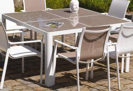 Table de Jardin Carrée en Aluminium et Verre 140 cm Velasquez