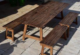 Table de Jardin Pliante en Bois d'Acacia Givex Rimini 220 x 90 cm Vue de Dessus