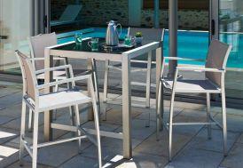 Table de Jardin Aluminium et Verre Pacific (90x90x100)