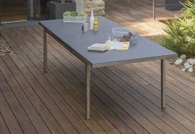 table de jardin en acier inoxydable et plateau en verre finition granit