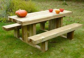table de pique-nique en bois traité autoclave épaisseur 90 mm