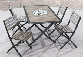 Table Jardin Pliante Bois Composite et Aluminium (140x80)