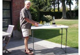 Table Résine Pliante 122x61 Agate - réglable en hauteur