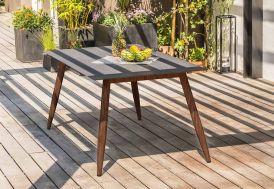 table de jardin scandinave en aluminium et verre