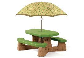 Table de Pique-Nique avec Parasol Naturally