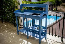 Table de Rempotage en Bois Lasuré Bleu 117 x 45 cm