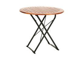 table ronde de jardin pliante en bois d'acacia diamètre 80 cm