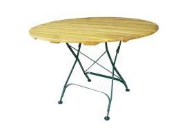 table ronde de jardin pliante en bois d'acacia de diamètre 110 cm