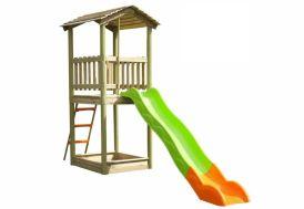 Maison Enfant Bois + Toboggan et Bac à Sable Marvolo