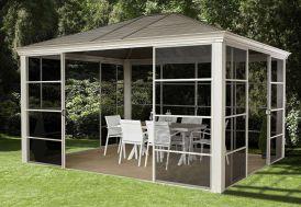Tonnelle en aluminium avec toiture en acier galvanisé et moustiquaire Straino Sojag