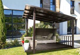 Tonnelle Aluminium et Polycarbonate Terrasse Couverte 3,45 x 3,05 m