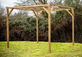 tonnelle sans couverture en bois traité haute température 3 m