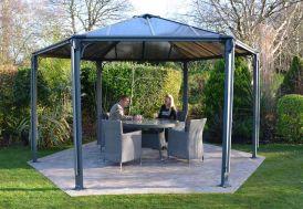 Tonnelle Design Hexagonale en Aluminium 438x289cm